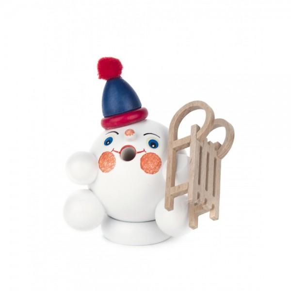 Dregeno Erzgebirge - Miniatur-Räucherfigur Schneeball mit Schlitten - 8cm