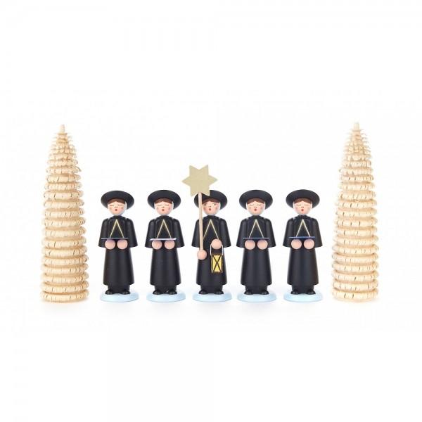 Dregeno Erzgebirge - Kurrendefiguren mit Ringelbäumchen, 7er-Gruppe, schwarz - 12cm