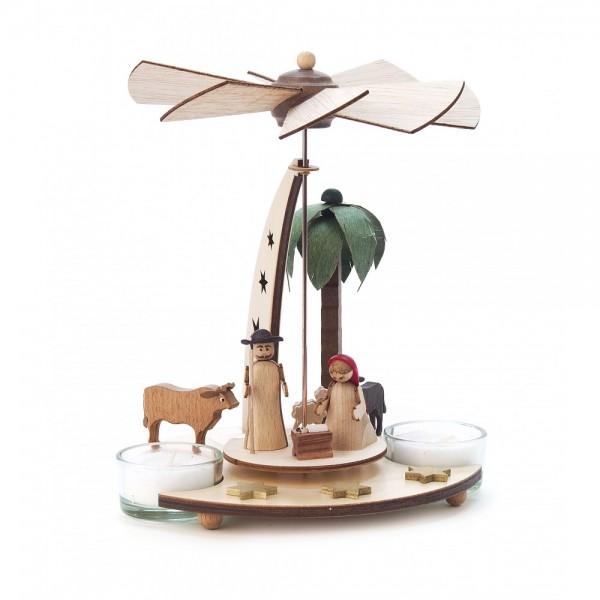 Dregeno Erzgebirge - Pyramide klein mit Christi Geburt für Teelichter - 18cm