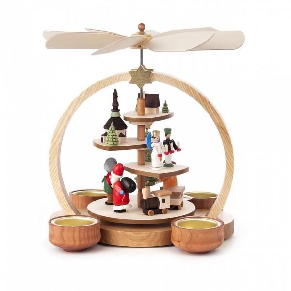Dregeno Erzgebirge - Stufenpyramide Seiffener Weihnacht, farbig, für Teelichter