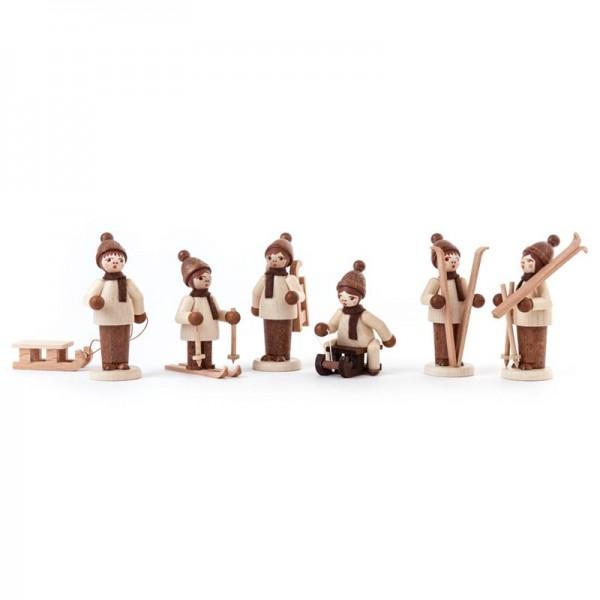 Dregeno Erzgebirge - Miniatur-Wintersportler, natur, 6 Figuren