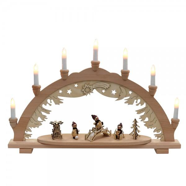 Restposten - Holz Schwibbogen mit 3 Schneemannfiguren & Brücke & Pyramide (Premiumholz) 9 x 57 x 38 cm 230 V Kabel, 7 flammig, SPK