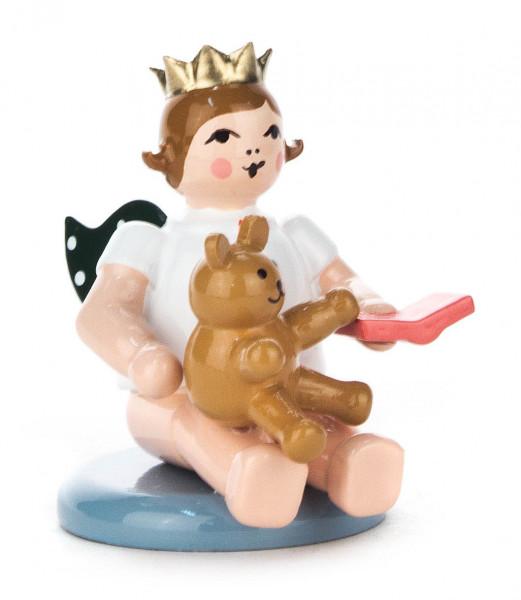 Dregeno Erzgebirge - Engel mit Teddybär und Krone, sitzend
