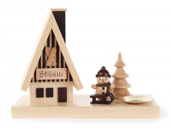 Dregeno Erzgebirge - Räucherhaus Skihütte mit Schneemann und Kerzenhalter für Kerze Ø 14mm