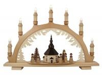 Lenk & Sohn Schwibbogen Erzgebirge 1-fach, 7-flammig Seiffener Kirche mit Kurrende natur