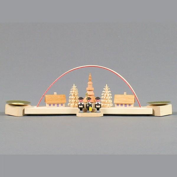 Dregeno Erzgebirge - Miniatur-Schwibbogen mit Seiffener Kirche und Kurrende