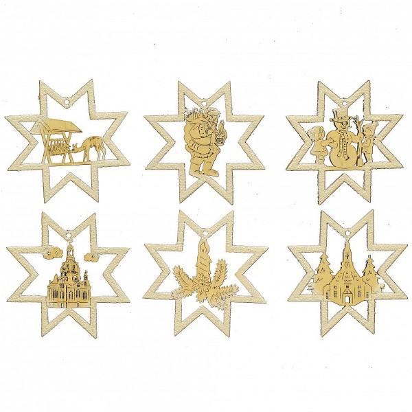 HELA Holzkunst - Baumbehang Stern mit Glimmer 6er Set