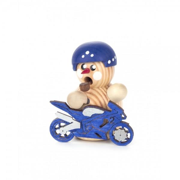 Dregeno Erzgebirge - Räuchermini Biker natur mit blauem Motorrad