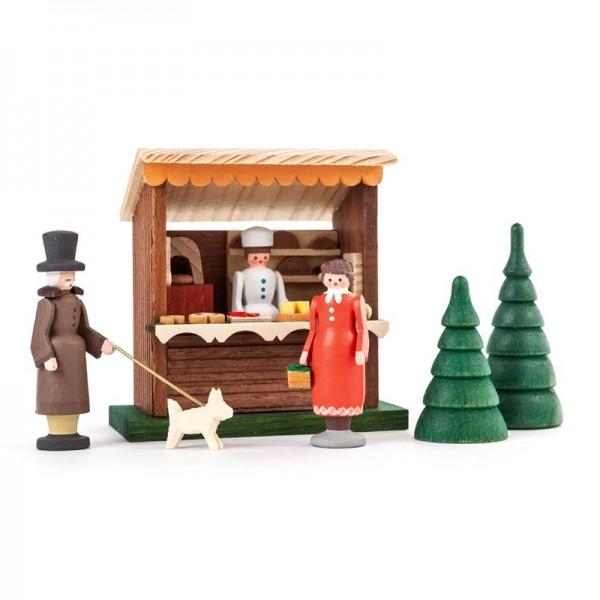 Dregeno Erzgebirge - Miniatur-Bäckerbude mit 3 Figuren und 2 Bäumchen