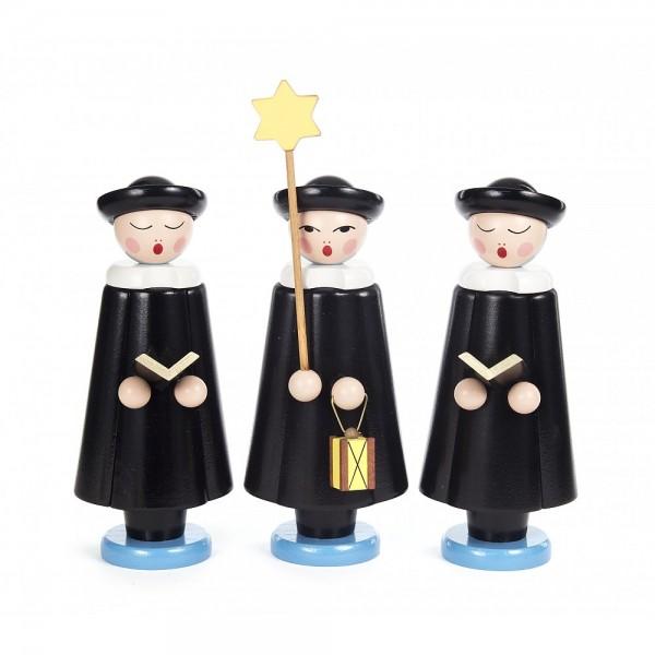 Dregeno Erzgebirge - Kurrendefiguren groß 3er-Gruppe, schwarz - 24cm