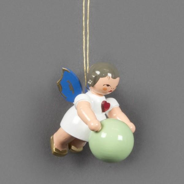 Dregeno Erzgebirge - Schwebeengel Herzengel mit Gymnastikball, blaue Flügel