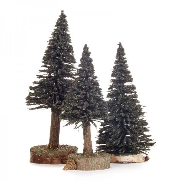 Dregeno Erzgebirge - Miniatur-Fichten, grün, 3-teilig