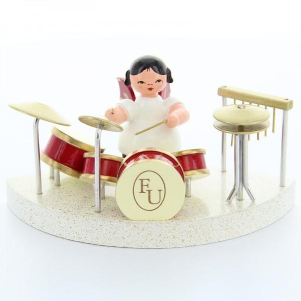 Uhlig Engel sitzend am Schlagzeug, rote Flügel, handbemalt