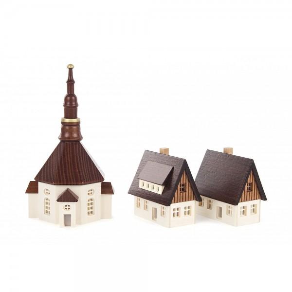 Dregeno Erzgebirge - Seiffener Kirche und 2 Häuser, klein, von innen beleuchtbar (ohne Leuchtmittel)