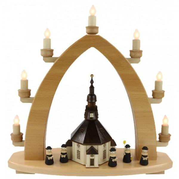 Lenk & Sohn Lichterbogen 7-flammig Seiffner Kirche mit Kurrende schwarz