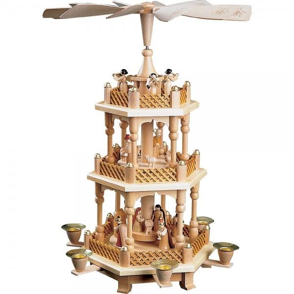 Richard Glässer Erzgebirgspyramide Christi Geburt 2-stöckig natur 40cm