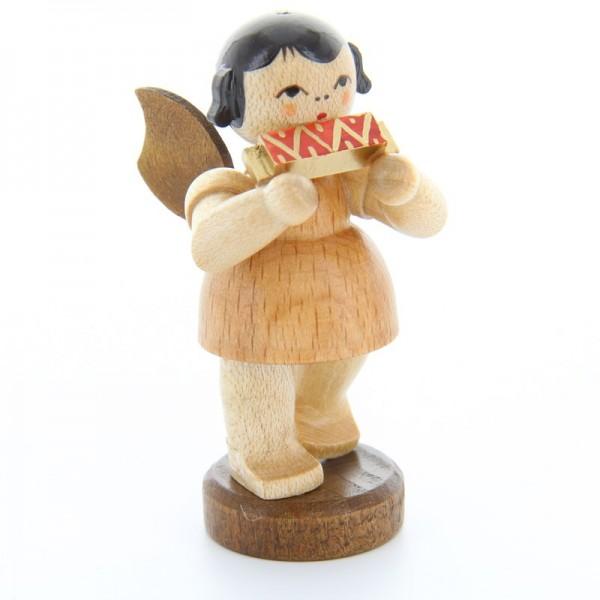 Uhlig Engel stehend mit Mundharmonika, natur, handbemalt