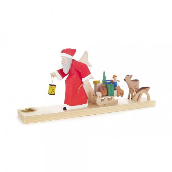 Dregeno Erzgebirge - Schnitzerei mit Lichtertülle - Weihnachtsmann mit Schlitten und Rehen - 12cm