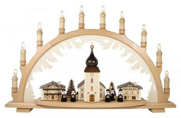 Lenk & Sohn Schwibbogen Erzgebirge 1-fach, 10-flammig Bergkirche mit Kurrende
