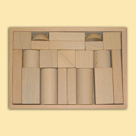 Ebert Holzbaukasten mit 22 große Blöcke natur