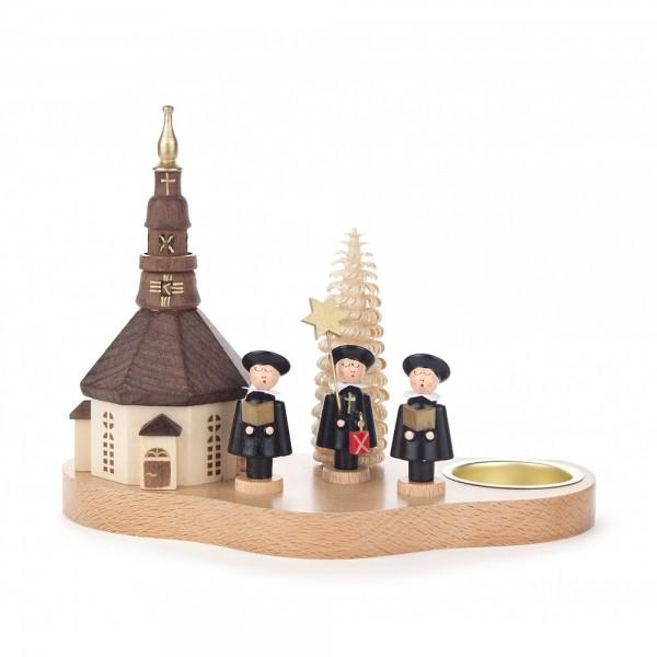 Dregeno Erzgebirge - Teelichthalter mit Seiffener Kirche und Kurrende - 14cm