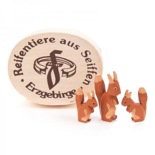 Dregeno Erzgebirge - Miniatur-Eichhörnchenfamilie in Spandose