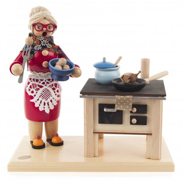 Dregeno Erzgebirge - Räucherfigur »Erna« beim Kochen