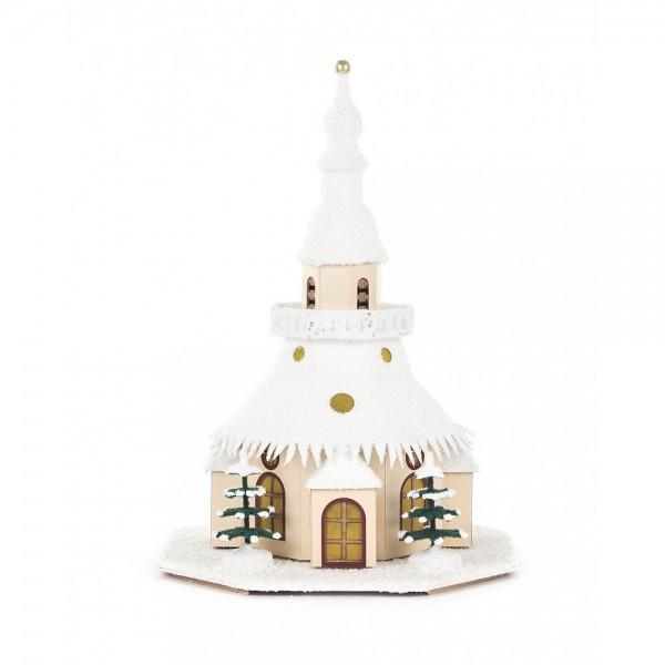 Dregeno Erzgebirge - Lichterhaus Seiffener Kirche klein aus Pappe, elektrisch beleuchtet - 26cm