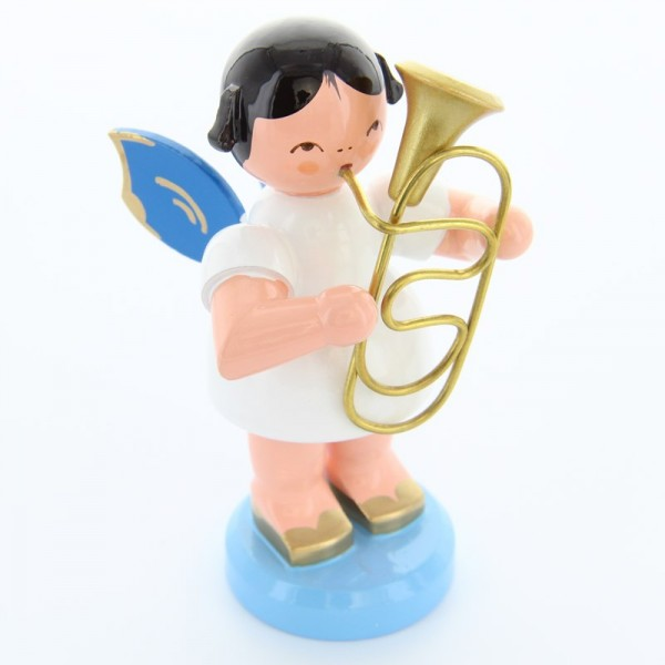 Uhlig Engel stehend groß mit Bariton, blaue Flügel, handbemalt
