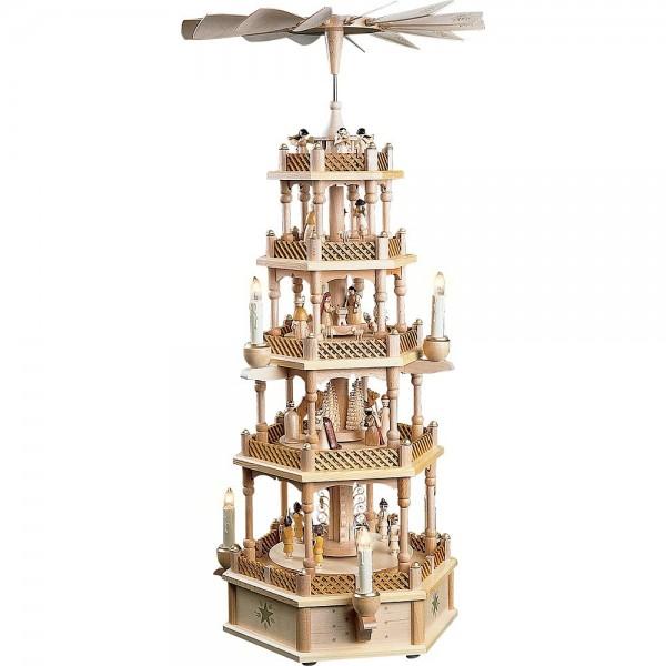 Richard Glässer Erzgebirgspyramide Christi Geburt 4-stöckig elektrisch 75cm