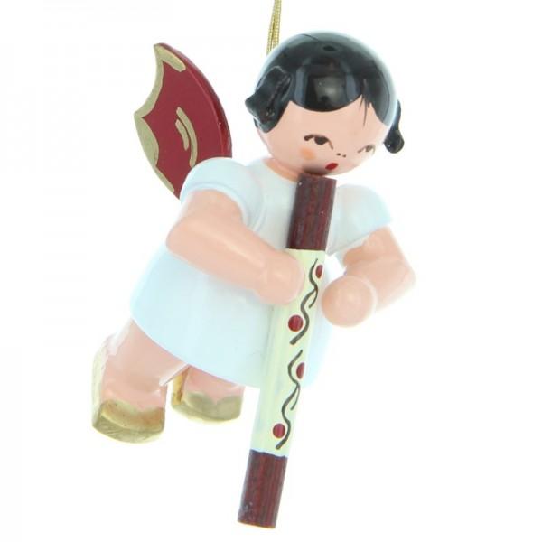 Uhlig Engel schwebend mit Didgeridoo, rote Flügel, handbemalt