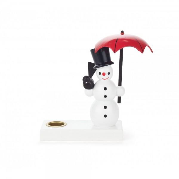 Dregeno Erzgebirge - Kerzenhalter mit Schneemann und offenen Schirm - 10cm