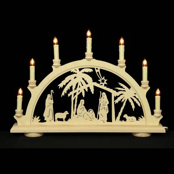 HELA Holzkunst - Schwibbogen Erzgebirge 7flammig - Christi Geburt