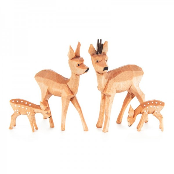 Dregeno Erzgebirge - Miniatur-Geschnitzte Rehe, 4-teilig
