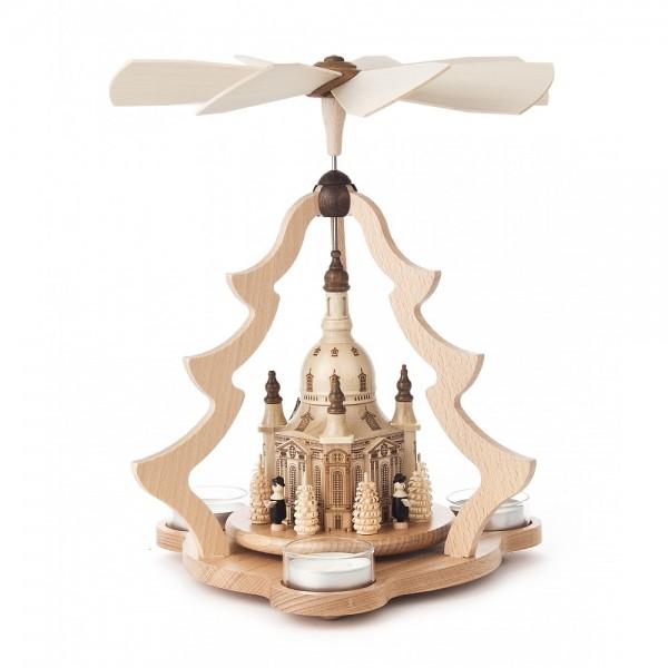 Dregeno Erzgebirge - Pyramide klein mit Dresdner Frauenkirche, für Teelichter - 26cm