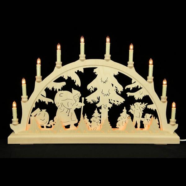 HELA Holzkunst - Schwibbogen Erzgebirge 16flammig indirekt beleuchtet - Weihnachtsmann