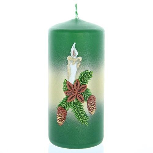 Weihnachtskerze Grün - Stumpen mit Kerze - 12cm