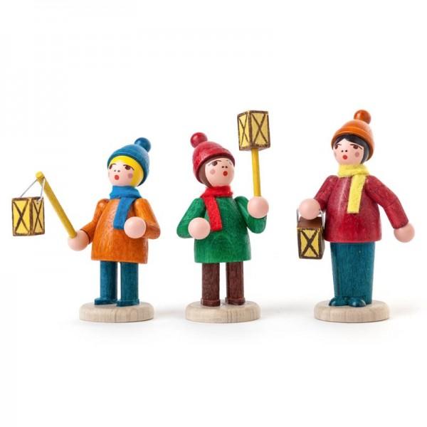 Dregeno Erzgebirge - Miniatur-Laternenkinder, farbig lasiert, 3 Figuren