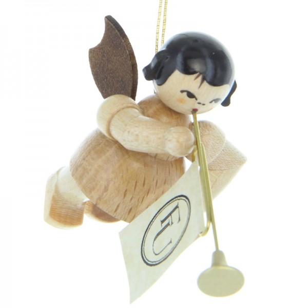 Uhlig Engel schwebend mit Fanfare, natur, handbemalt