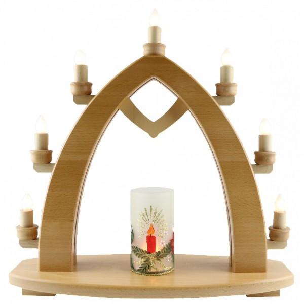 Lenk & Sohn Lichterbogen 7-flammig Glaskörper beleuchtet Adventskerze