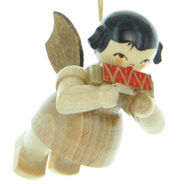 Uhlig Engel schwebend mit Mundharmonika, natur, handbemalt
