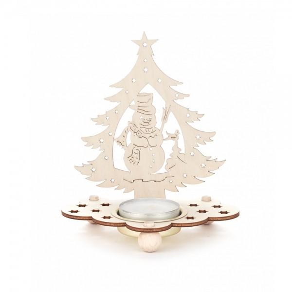 Dregeno Erzgebirge - Teelichthalter Baum Motiv Schneemann - 12cm
