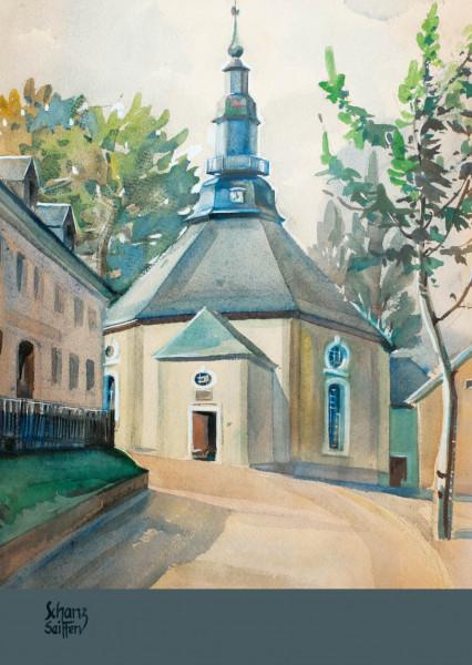 Dregeno Erzgebirge - Künstlerkarte Max Schanz »Farben des Gebirges«, Kirche Seiffen
