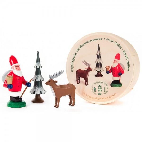 Dregeno Erzgebirge - Weihnachtsmann, Hirsch und Baum in Spandose