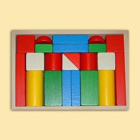Ebert Holzbaukasten mit 22 große Blöcke bunt
