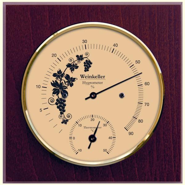 Fischer Weinkeller Thermometer und Hygrometer im Holzgehäuse