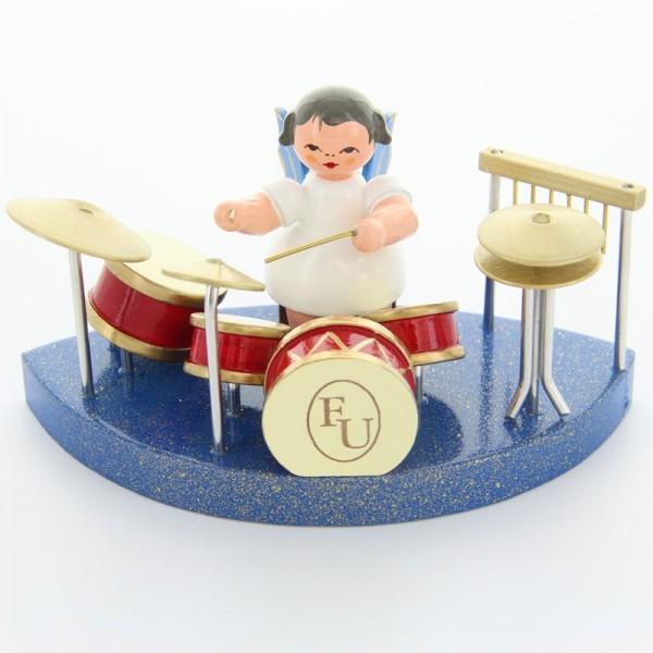 Uhlig Engel sitzend am Schlagzeug, blaue Flügel,passend zum Wolkenstecksystem blau, handbemalt