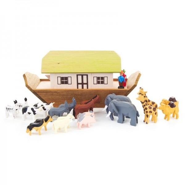 Dregeno Erzgebirge - Miniatur-Arche Noah, klein, mit 20 Reifentieren und 2 Figuren