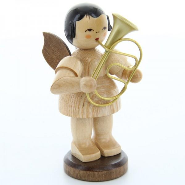 Uhlig Engel groß stehend mit Bariton, natur, handbemalt