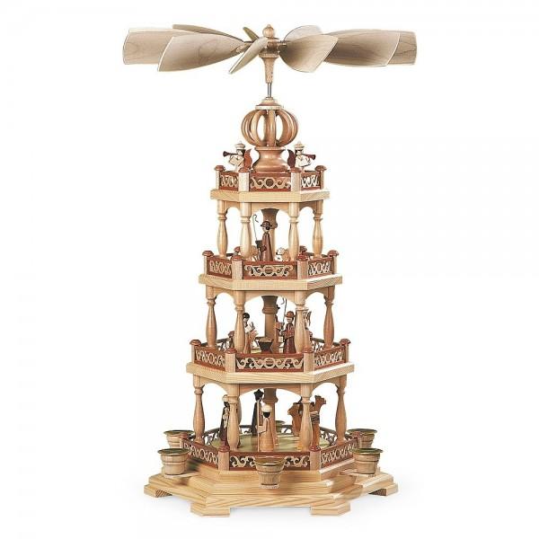 Müller Pyramide Heilige Geschichte 3-stöckig mit Engel, natur 58cm